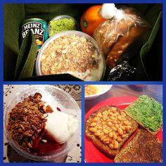 Brekkie & Lunch pack for today... Homemade Muesli w Vanilla Yoghurt, Strawberries & Banana + Roquette Pesto & Baked Beans on Toast.. Yes peep I eat baked beans, best emergency plan when all else fails  #bakedbean #toast #roquette #pesto #muesli #yoghurt #packedlunch #strawberries #banana #brekkie #healthystartforday #instagood
