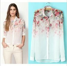 NEW ARRIVAL!!!2013 spring and summer fashion gradient flower print long-sleeve chiffon shirt