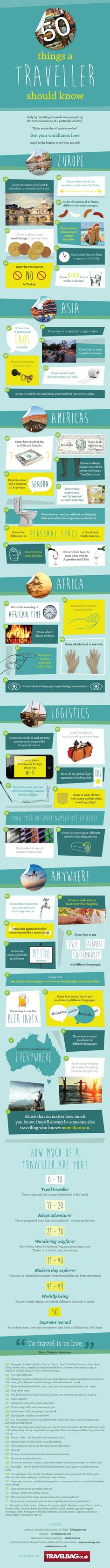50 Things a Traveller Should Know. Love this! #travel #TravelGuide #infographic