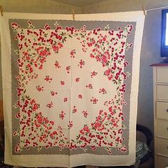 Vintage-Cherries-And-Flowers-w-gray-border-Tablecloth-Excellent-Condition