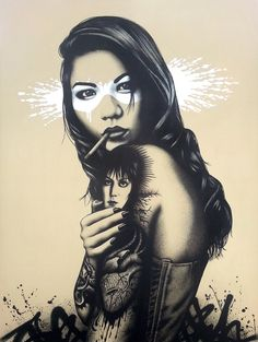 Miss Spent - Stencil, spray and acrylic on 91 x 121cm canvas
