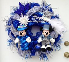 Christmas Victorian Disney Wreath with Mickey and Minnie Mouse on Etsy,