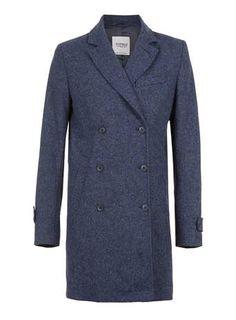 Blue Marl Herringbone Smart Coat - Wool Coats - Men's Jackets & Coats  - Clothing