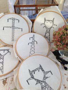 Simply embroider a design onto linen in a hoop. My design was taken from the electricity pylons which march over the countryside of France