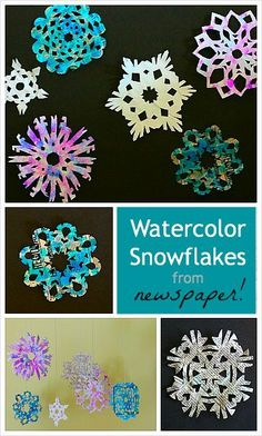 Easy Winter Art Project for Kids: Make painted snowflakes using newspaper (with easy tutorial for how to cut out a paper snowflake) ~ BuggyandBuddy.com