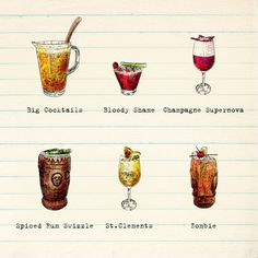 Illustrated cocktail icons for the drinks menu at Potato Head, Bali.