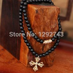 Punk Style Cross Pendant Black Agate Bracelets