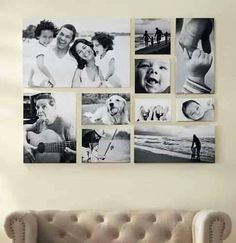 pared decorada con fotos familiares  a blanco y negro