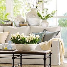 Here's another Spring inspired living room. It's all about the layering of accessories here.