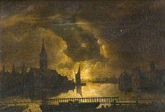 Moonlight River Scene by Aert van der Neer