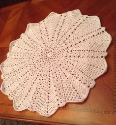 Crocheted Lacey Round Ripple BlanketPink by SilverFoxxTreasures, $25.00