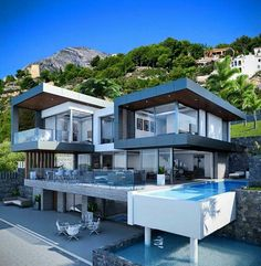 Modern architecture house design with minimalist style and luxury exterior and interior and using the perfect lighting style is inspiration for villas mansions penthouses Modern Architecture House, Amazing Architecture, Architecture Design, Dream Home Design, Modern House Design, Hillside House, Luxury Homes Dream Houses, Modern Mansion, Expensive Houses