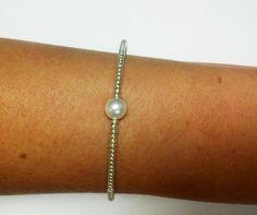 Light Gold & Swarovski Pearl Bracelet by OneSEC on Etsy, $9.50