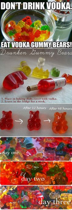 Why make Jello Shots when you can make Vodka Bears? So easy! Why make Jello Shots when you can make Vodka Bears? So easy! Alcohol Drink Recipes, Vodka Drinks, Fun Drinks, Alcoholic Drinks, Jello Shot Recipes, Salad Recipes, Drunken Gummy Bears, Vodka Gummy Bears, Cocktail Recipes