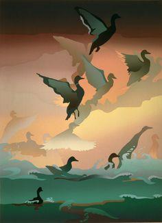 Malibu Lagoon, a screen print by American artist, Masha Schweitzer