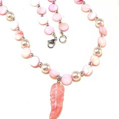 Pink Necklace Set  Shell and Leaf by lindab142 on Etsy