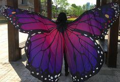 Women Butterfly Dancing Wings Girls Belly Dance Openging Split Wing Monarch Cape Costume Festival Wear Adult Kids 2 Sizes