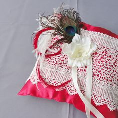 Wedding Ivory And Red Ring Bearer Pillow More by Chuletindesigns, $25.00