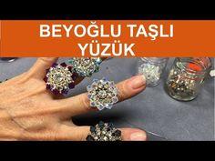 How to make a Beyoglu stone and crystal ring, Diy Abschnitt, Seed Bead Tutorials, Beading Tutorials, Diy Beaded Rings, Beaded Jewelry, Stones And Crystals, Crystal Beads, Crystal Ring, Earring Tutorial, Diy Schmuck