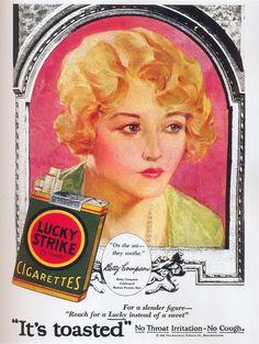Vintage Ads   Vintage Ads: Lucky Strike, Betty Compson, 1929