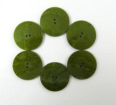 Lot of 6 Vintage Marbled Green Large Plastic Buttons * 37 mm *** P-117 - Green by TheTreasureBoxOrna on Etsy