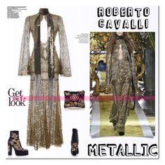 """Metallic Dress."" by tatajrj ❤ liked on Polyvore featuring Roberto Cavalli, metallic, contestentry and metallicdress"
