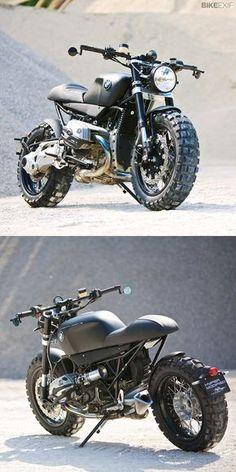 The BMW R1200R gets the scrambler treatment from automotive designer Lazareth. Brutal, non?