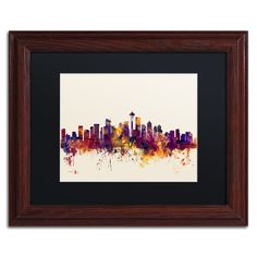 Michael Tompsett 'Seattle Washington Skyline IV' Matte, Wood Framed Wall Art