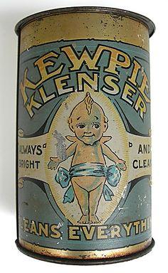 Always Bright Kewpie Klenser Cleans Everything Antique Tin Can