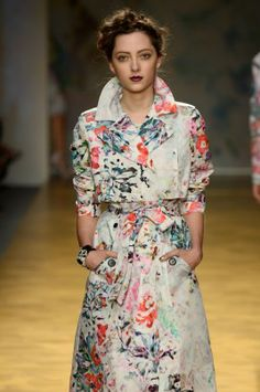 Looking for a more vibrant take? Try a printed version like this floral trench from Nicole Miller.