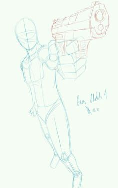 Anatomy Drawing Tutorial Gun Pose 1 by Johnny-Wolf - Figure Drawing Reference, Drawing Reference Poses, Reference Images, Male Pose Reference, Anatomy Reference, Poses Anime, Manga Poses, Poses References, Anatomy Drawing