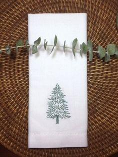 Woodland Christmas Tree Embroidered Cloth Napkins - Set of 4 napkins