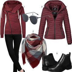 Damenoutfit mit weinrotem Hoodie und Winterjacke Women's outfit with wine-red Elevesee hoodie, Marikoo women's quilted jacket, black Alice & Elmer jeans, plaid scarf, sunglasses and Chelsea boots. Cozy Winter Outfits, Winter Outfits Women, Fall Outfits, Casual Outfits, Outfit Winter, Mode Outfits, Sport Outfits, Fashion Outfits, Style Hijab Simple