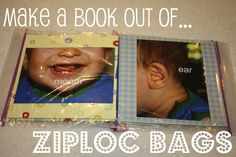 """These little books are so cool! My good friend Sarah introduced me to these """"Ziploc Books"""" and I decided to use pictures to help teach my boys thei"""