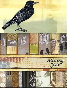 Greeting card featuring a starling rubber stamp from Carolyn's Stamp Store - https://www.etsy.com/listing/227717506/set-of-two-unmounted-rubber-stamps