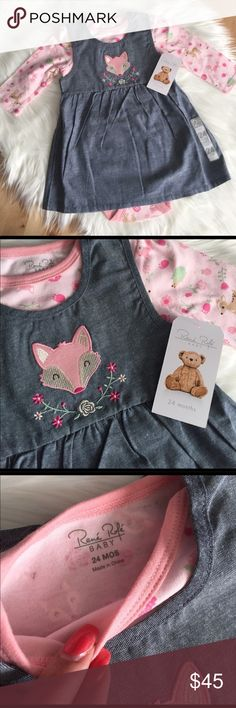 Rene Rofe Fox Denim Dress Long Sleeve Onesie Adorable two piece set, long sleeved onesie pink with forest animals, baby deer, fox, hedgehog. With a denim dress that goes over top of it with a pink fox and flowers on the front. So sweet!! Rene Rofe Dresses Casual