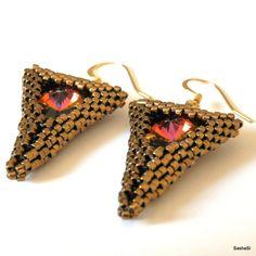 VOLCANO Geometric Earrings with Swarovski Crystals  by SashaSi, $49.50