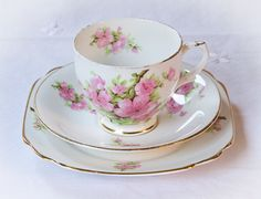 Sweet Tea Trio Embellished with Cherry Blossoms. $15.00. #vintage #teacup #teatrio