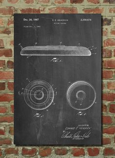 Frisbee 1965 Patent Poster, Ultimate Frisbee, College Room Decor, Unique Gift Idea, Sports Wall Art