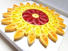 Sun Paper Art / Mini Canvas / Quilling Paper / Home Office Decor / Housewarming Gift / Yellow / Git For Her