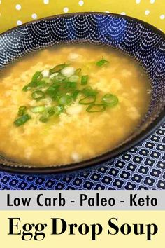 This easy recipe for low carb egg drop soup makes delicious Chinese restaurant f. , , This easy recipe for low carb egg drop soup makes delicious Chinese restaurant fare. It's a tasty Keto compliant appetizer with only net carbs per. Ketogenic Recipes, Diet Recipes, Healthy Recipes, Ketogenic Diet, Low Carb Soup Recipes, Diet Desserts, Lunch Recipes, Healthy Foods, Cookie Recipes