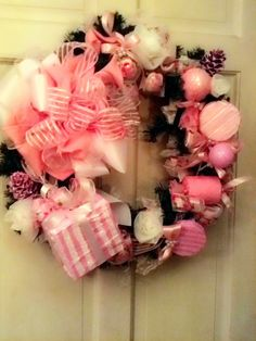 Pretty In Pink Christmas Wreath by SomethinShabby on Etsy, $150.00