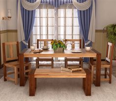 Pick this Mehrab 6 Seater Dining Set; it will give you an entirely #different #dining #experience. This dining set has a #beautiful joint legs table with four comfortable #chairs and a #bench. It is crafted from Sheesham wood and furnished with the teak finish which makes it a #centre of attraction for #everyone.