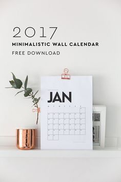 If clean and simple is your aesthetic, download this minimalist 2017 wall calendar in black & white. You'll have enough space to jot down appointments and other important information. use…