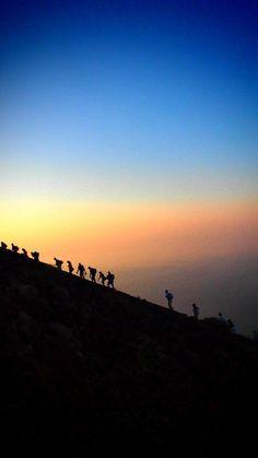 Climbing up Mt Stromboli, Sicily, Italy, province of Messina