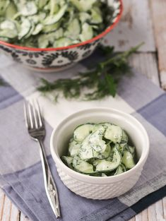 Cucumber Salad with Fat-Free Yogurt Herb Dressing - Get the easy recipe on RachelCooks.com