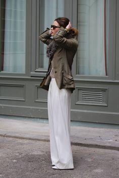 white trousers, olive blazer, fur collar