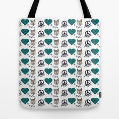 Peace Love & Cats Tote Bag