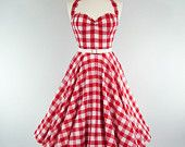 Made To Measure Red Gingham Full Circle Dress - Detachable Straps & Belt #EasyNip