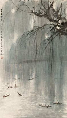 Baoshi FU,.  Could do this mixed media with print outs of boats, watercolor, sketch